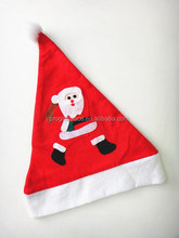 New premium red no sew applique polyester Christmas cap felt Santa Claus hat with Xmas snowman tree pompon for newborn infant