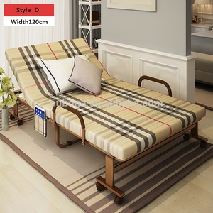 guest bed folding bed metal frame with sponge mattress