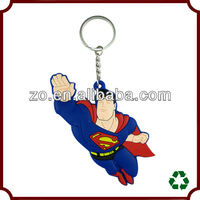 Promotional 2d superman shaped soft pvc keychain