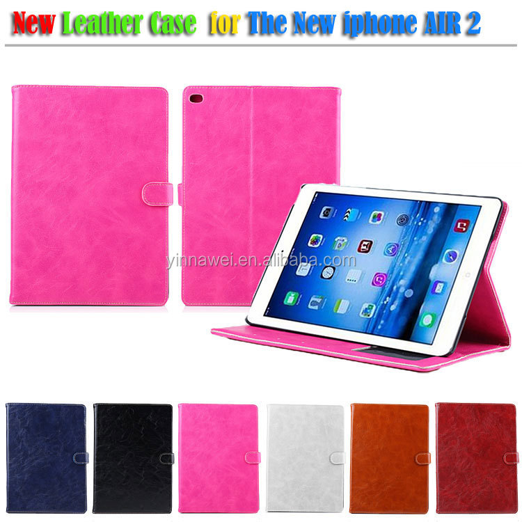 Crazy Horse Pattern Leather Wallet Case For Apple iPad Air Smart Cover, For iPad 6
