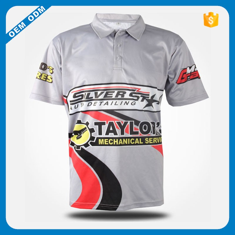 custom muticolor polo shirts sublimation polyester T shirts gym racing polo jerseys