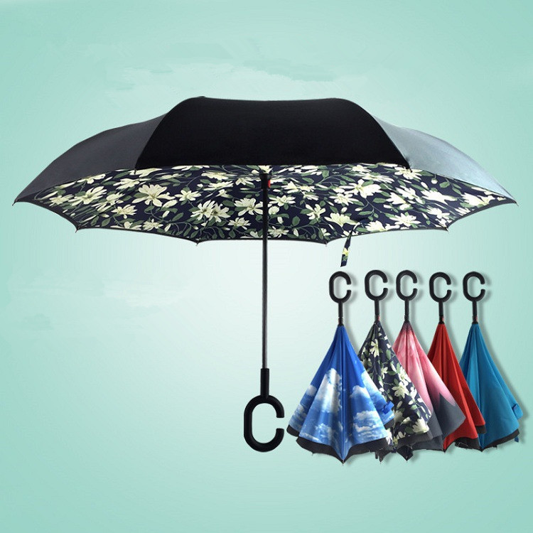 Fashion Patterned fancy magic guangzhou sunflowersinverted umbrella with plastic cover