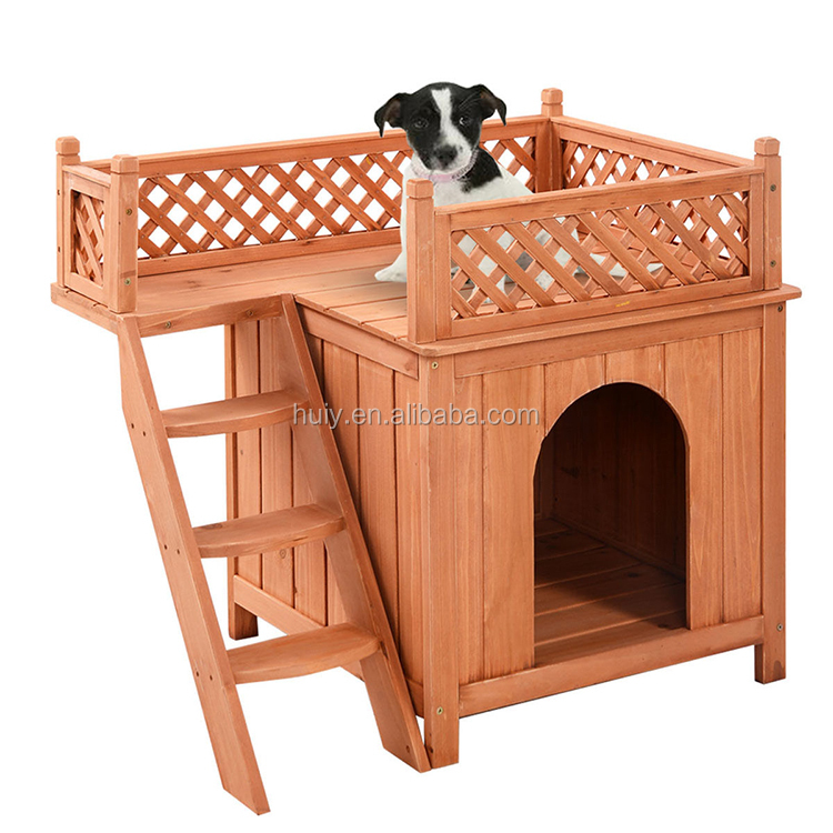 Wooden Puppy Pet Dog House Wood Room In/outdoor Raised Roof Balcony Bed Shelter