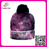 new arrivals 2016 custom 3D digital black GALAXY print pom pom winter ski beanie hat