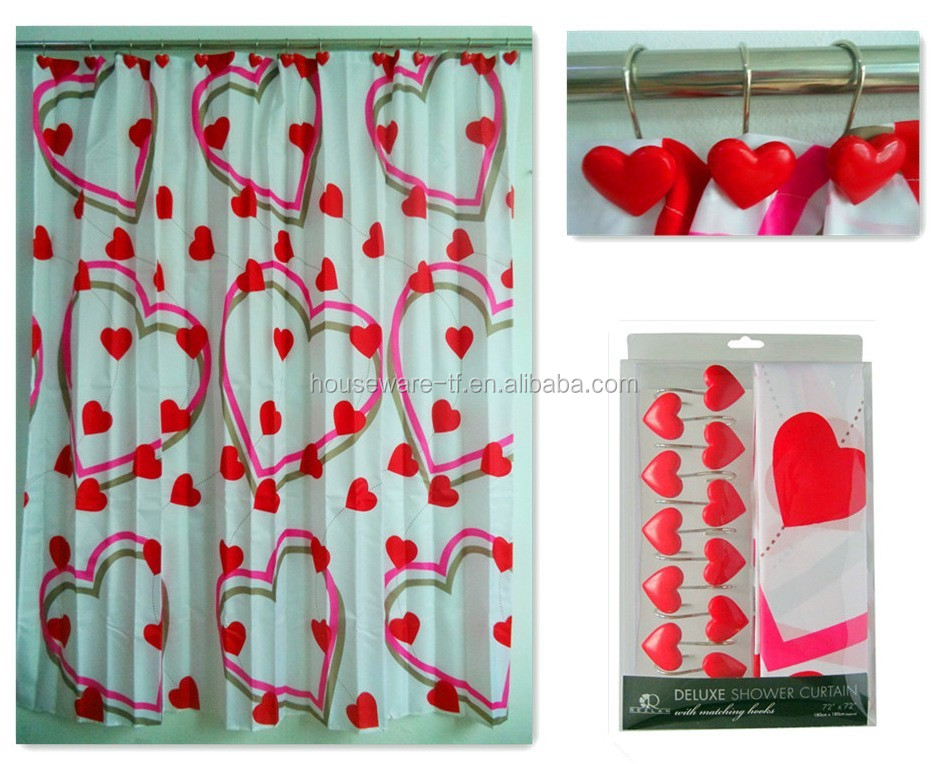peach heart shower curtain with bathroon hooks