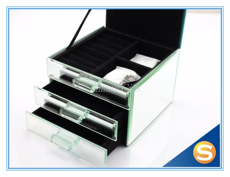 Mirrored Glassed Storage Box with Drawer for Jewelries