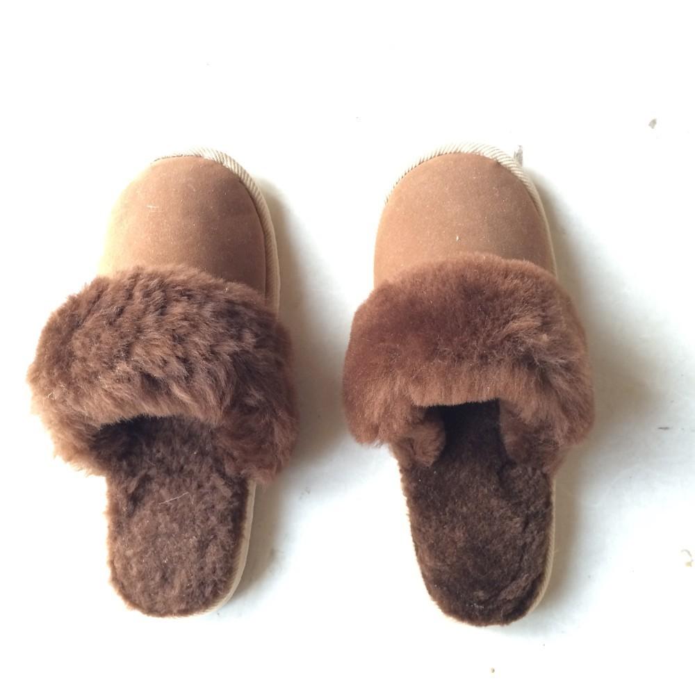 Pure Sheep Wool Fleece Sheepskin Women Sheep Wool Slippers ...
