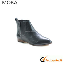 MK071-4 prevalent black horse leather low chunky heel ankle boot pointed toe shoes