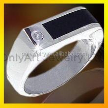 wholesale fashion 925 sterling silver men's D ring with onyx jewelry