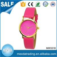 latest fashion simple girl women lady gold case hot sell factory price japan movt wholesale custom promotional watches