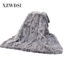 CX-D-66A Oversized Plush Cheap Wholesale Rabbit Fur Skin Throw Blanket