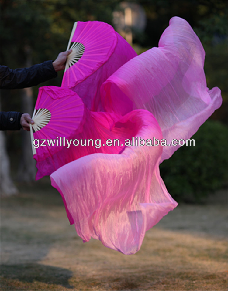 180*90CM,100% China NATURAL Silk Belly Dance Fan Veils, FUSCHIA/PINK