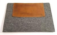BSCI factory wholesale Grey/Tan Cavalry Felt & Leather Wallet Case for iPad 2/3