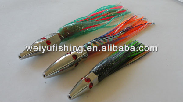 OEM lures metal head tuna fishing lure with octopus skirt salt water fishing tackle wholesale screw head easy replacement skirt