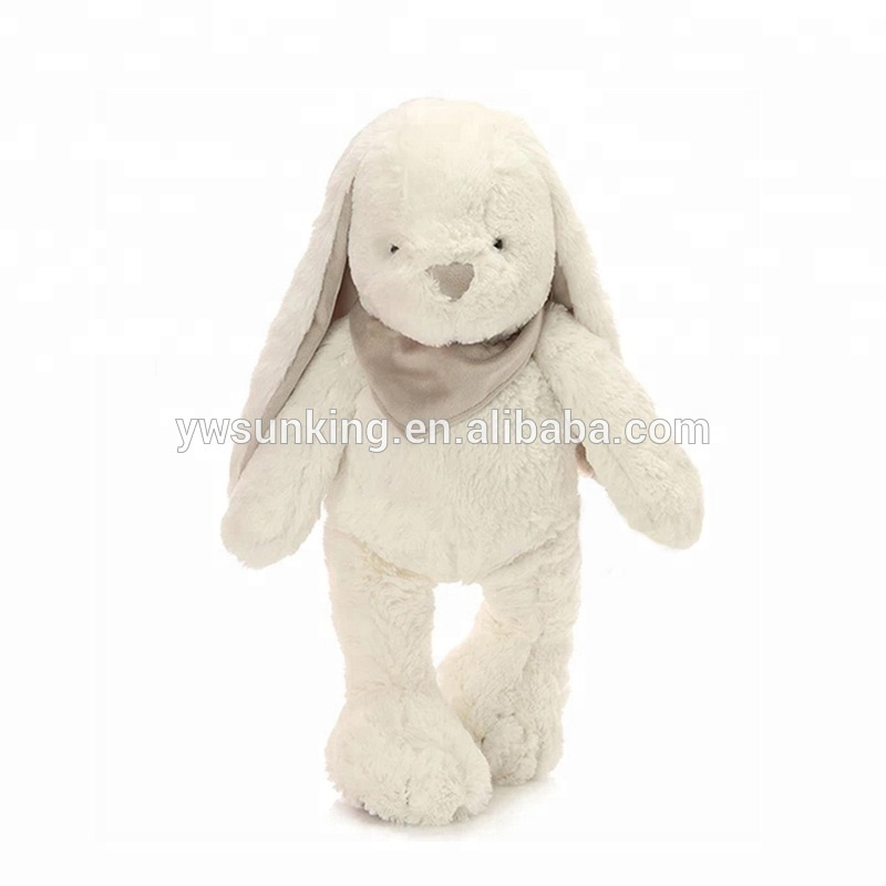 12Inch white rabbit soft Bashful Beige Bunny Stuffed <strong>Animal</strong> with scarf