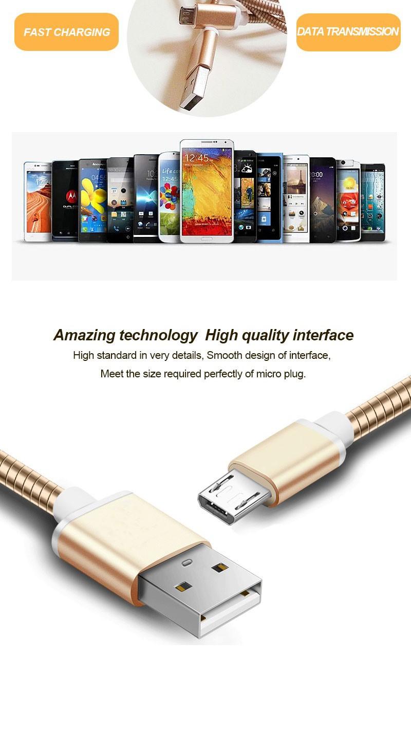 Whlosale полностью металлический логотип oem 1 М/2 М/3 М Android Micro USB быстрая зарядка Кабель для Galaxy