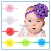 Wholesale Chiffon flower lace flower children's hair band,13 color optional,Explosive source