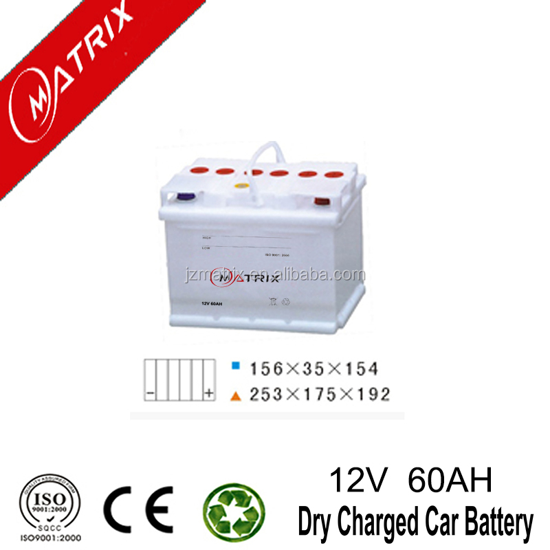 High standard DIN60 12v 60ah dry charge lead acid automotive