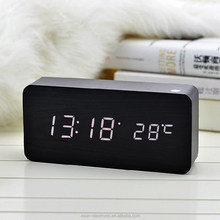 Most Popular innovative LED Sound sensor decorative wooden desk table digital alarm clock/Wooden alarm clock