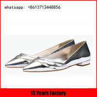 top quality pointed toe design with dress silver ladies fancy flat shoes