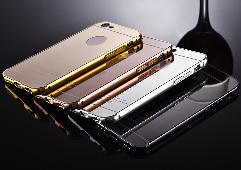 2016 newest Luxury aluminum ultra-thin mirror metal bumper mobile phone case cover for Apple Iphone 6 6s case