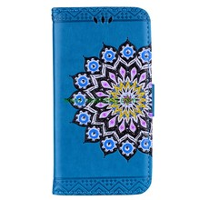 Hot Sale Color printing Mandala flower Pattern Flash powder Flip Wallet Leather Case For iPhone 7