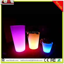 Decorative PE plastic planter and flower pot with LED light illuminated