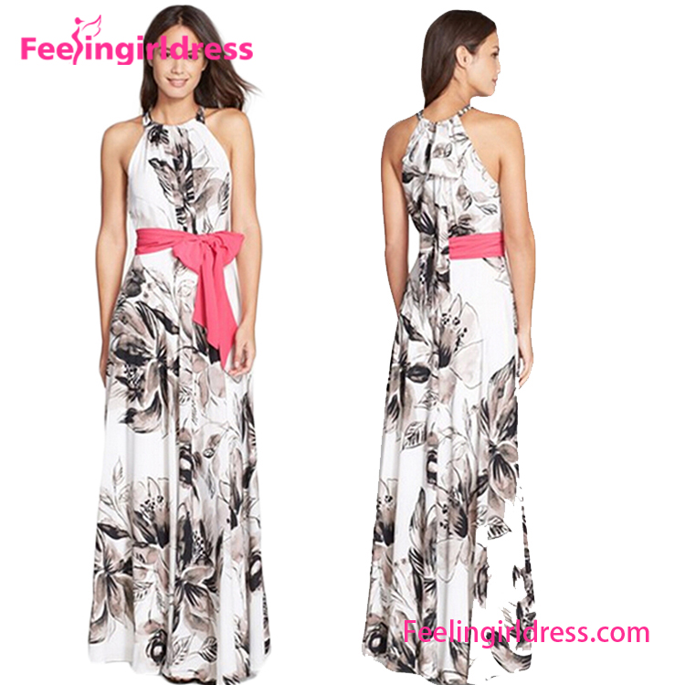 Fashion Sleeveless Casual Print Dress Pictures Of Long Gown Maxi Length