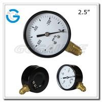 High Quality economic black steel 2.5inch 63mm bottom connection hand vacuum pump pressure gauge