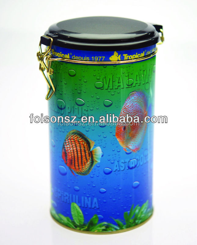 round shaped tin box with plastic lid for food package