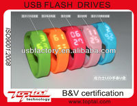 4gb water proof bracelet wrist band watch pvc usb flash drive