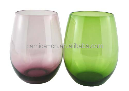 16OZ colored stemless wine glass cup; Colorful Tumbler for water and Juice