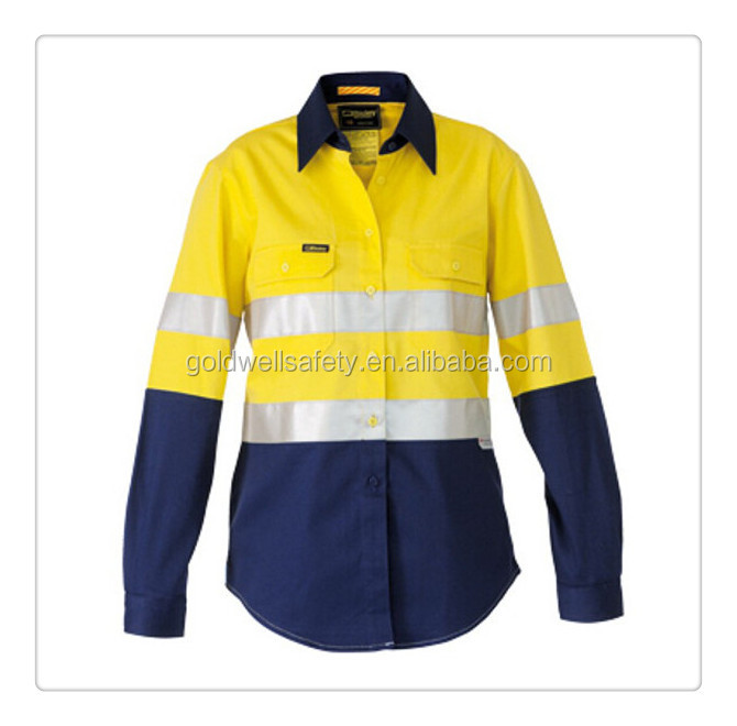 Long sleeve 100 cotton work shirts with 5cm reflective for 100 cotton work shirts