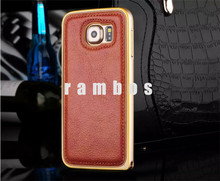 High Quality Fashion Chromed Grid Bumper Pattern Real Leather Case Mobile Phone Cover for Samsung galaxy S5 i9600