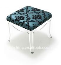 PE-001 Square Teal Acrylic Stool,Luxury Perspex Stool With Cushion