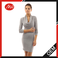 Ladies casual draped neck wool knitted sweater Dress