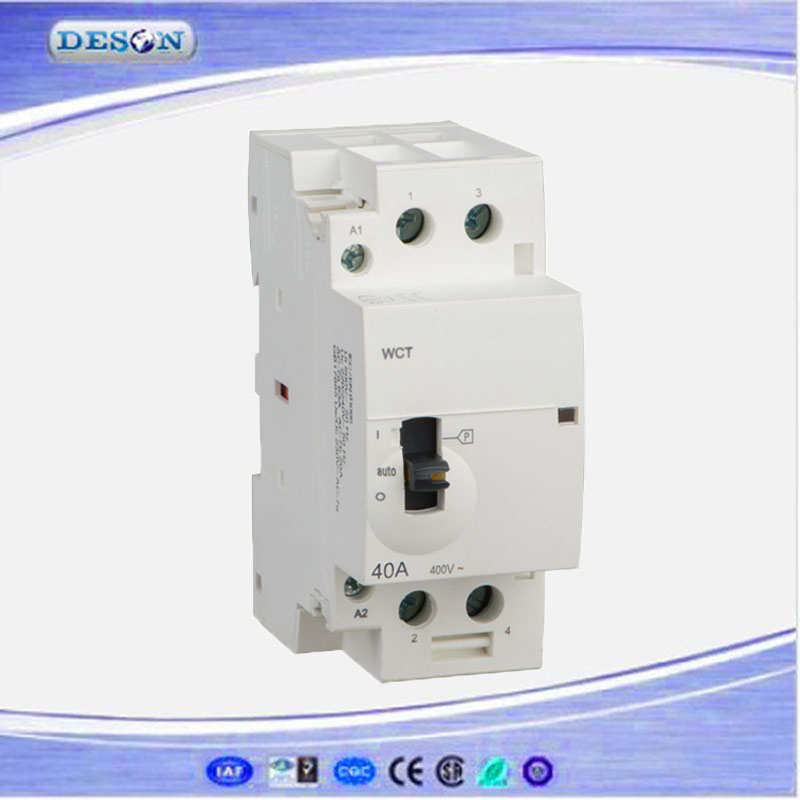 Household Modular AC Contactor 40A, 2 Poles Din Rail AC Magnetic Contactor, Electrical Manual AC Contactor 110V/220V 50Hz