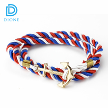 Factory wholesale gold/silver plated curved anchor bracelet braided nautical rope bracelet