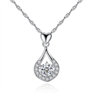 2017 China jewelry Heart drop Pendant Necklace AAA zircon necklace Wholesale Fashion Jewelry