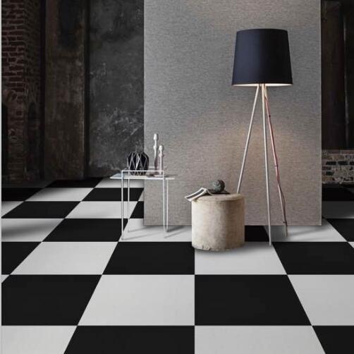 Black and white rubber floor tiles