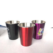 Unbreakable 6oz 8oz 12oz single wall stainless steel stackable beer pint cup coffee cup with colorful paining