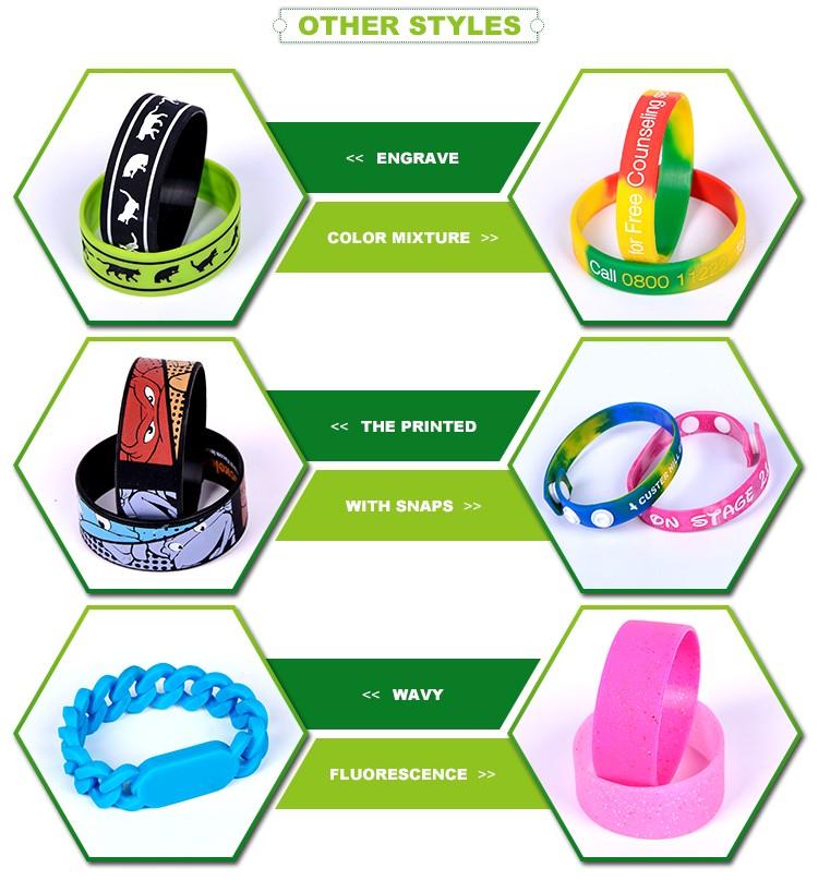 2017 logo imprimé OEM silicone bracelet en vrac pas cher personnalisé bracelet en silicone/Bracelets En Silicone