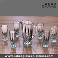 Wholesale 7pcs clear engraved diamond glass drinking set,glass jug set/water/juice set with 6cups