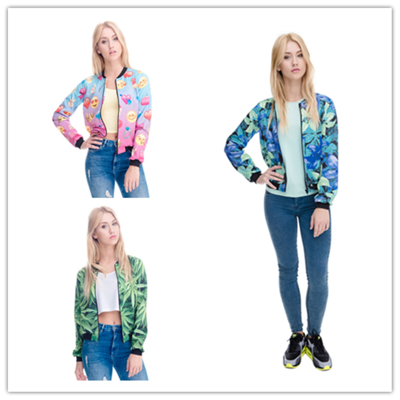 fashion cheap price wholesale 3D digital print women leather jacket