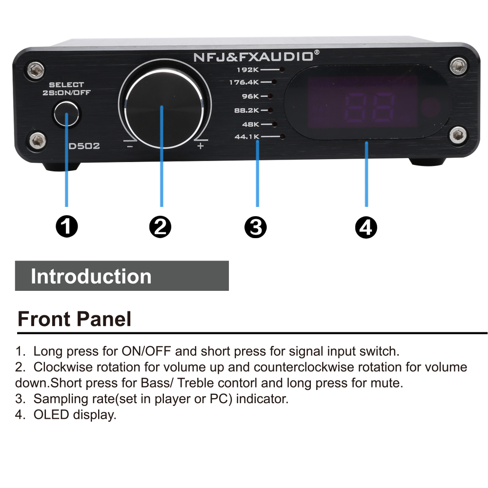 FX Audio D502 Original Digital Amplifier 2.1 subwoofer Integrated Home HIFI Decoding Amplifier