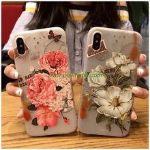 New Products 3D Relief Painted Pattern butterfly flower Scrub tpu case for iPhone X