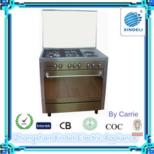 Best quality 3 gas burners +2 hotplates gas cooking range 36inch with glass lid cover for household