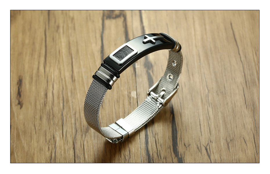 Meaeguet Stainless Steel Cross Charm Bracelet & Bangle Men Adjustable Watch Bands Wristband Bracelet Christian Jewelry (7)