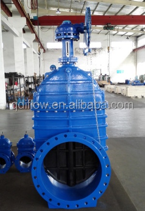 DIN F4 PN10 nrs resilient seat gate valve with chain wheel