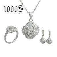 Valentine gift! Elegant silver 925 flower shape micro pave jewelry set